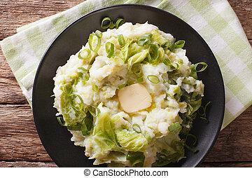 patata, cima, piatto, pietanza, closeup, colcannon, orizzontale, tavola., vista