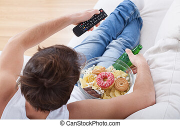 patata, divano, fiammifero, osservare