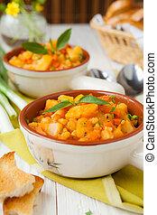 patata, minestra, cotto, in, il, forno, con, carote