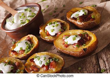 patata, pancetta affumicata, pelli, aspro, close-up.,...