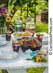 patate, cena, giardino, pollo, servito