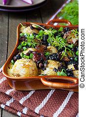 patate, con, funghi, formaggio, cotto, in, il, forno