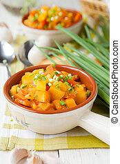 patate, cotto, in, il, forno, con, carote
