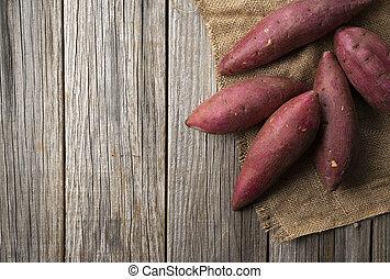 patate, dolce, legno, fondo, vecchio