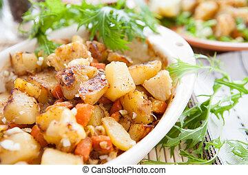 patate, e, carote, cotto, in, il, forno
