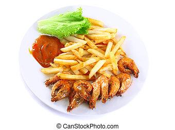 patate, friggere, isolato, shrimps., profondo-fritto