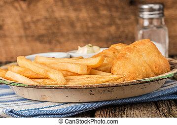 patate, fritto, profondo
