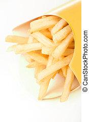 patate, profondo-fritto, isolato