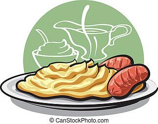 patate, salsicce, schiacciare