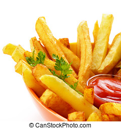 patatine fritte, con, ketchup