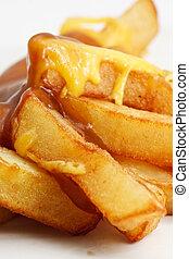 patatine fritte, formaggio, e, sugo