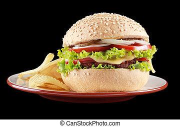 patatine fritte, hamburger, piastra., patata