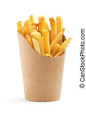 patatine fritte, in, carta, involucro, bianco, fondo