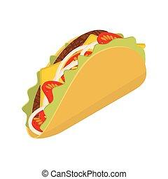 patatine fritte, pomodoro, isometrics, fondo., tortilla, taco, onion., fresco, bianco, tradizionale, cibo., messicano, carne