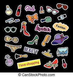 Patch badges. Fashion set. Stickers, pins, patches and handwritten notes collection in cartoon 80s-90s comic style. Trend. Black background. Vector illustration isolated.