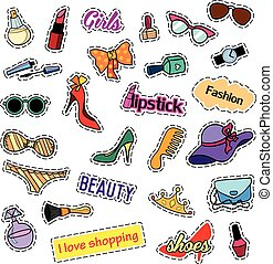 Patch badges. Fashion set. Stickers, pins, patches and handwritten notes collection in cartoon 80s-90s comic style. Trend. Vector illustration isolated.