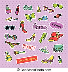 Patch badges. Pop art Fashion set. Stickers, pins, patches and handwritten notes collection in cartoon 80s-90s comic style. Trend. Vector illustration isolated.