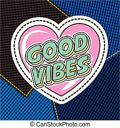 patch fashion denim - good vibes love heart on patches denim...