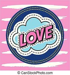 patch fashion denim - love text in cloud speech on denim...