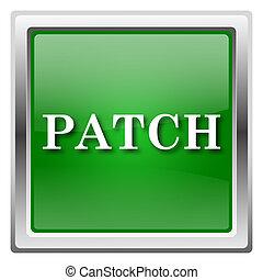 Patch icon - Metallic icon with white design on green...