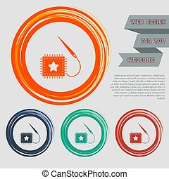 patch icon on the red, blue, green, orange buttons for your website and design with space text. Vector