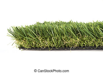 artificial grass on a white background - patch of green...