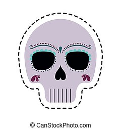 patch of skull mexican isolated icon