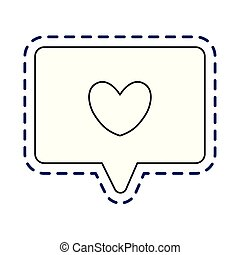 patch of speech bubble with heart isolated icon