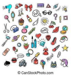 patches., badges., esboço, jogo, arte, na moda, doodle, modernos, estouro, vetorial, alfinetes