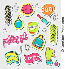 Patches hand draw, stickers collection. Fashion patch cartoon comic style