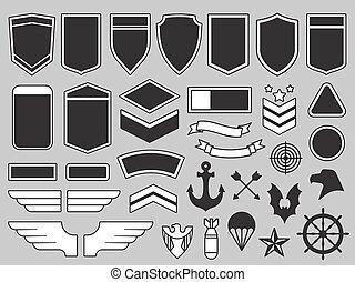 patches., insignia, elementos, força, tropas, exército, emblema, ar, soldado, vetorial, desenho, militar, jogo, remendo, emblemas
