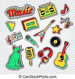 patches., instruments., gekritzel, abbildung, lebensstil, vektor, musik, teenager, aufkleber, musikalisches, abzeichen