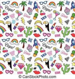 patches., moda, illustration., padrão, notas, seamless, cobrança, trend., 80s-90s, vetorial, alfinetes, adesivos, cômico, style., caricatura, manuscrito