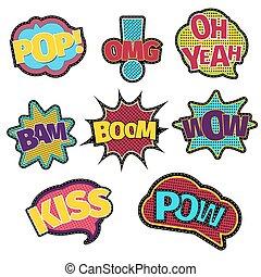 patches., mode, coudre, texte, couture, livre, parole, broderie, branché, comique, bulle