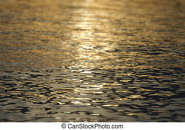 Patches of light of the sun on water