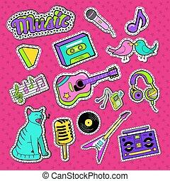 patches., styl, elementy, doodle., instrumentować, wektor, muzyka, nastolatek, ilustracje, majchry, muzyczny, symbole
