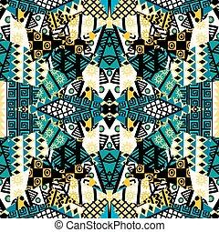 patchwork, étnico, mosaico, arabescos, africano