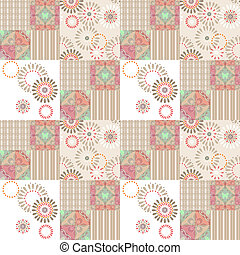 Patchwork abstract seamless floral pattern background