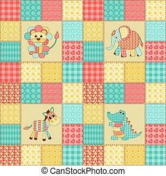 patchwork, africano, animais