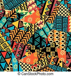patchwork, africano, experiência colorida, arabescos