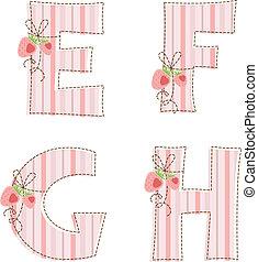 Patchwork alphabet. E, F, G, H