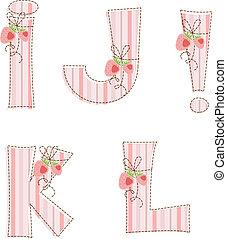 Patchwork alphabet. Letter I, J, K, L, !
