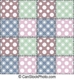patchwork background with different patterns with polka dot