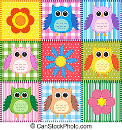 Patchwork background with owls and flowers