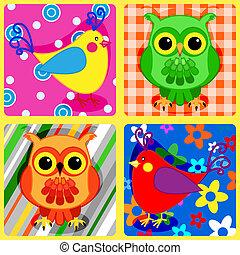 patchwork, birds-2, seamless