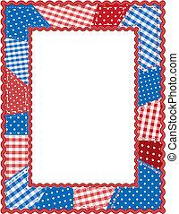 patchwork, bleu, cadre, rouges, blanc