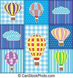 patchwork, caldo, palloni, aria