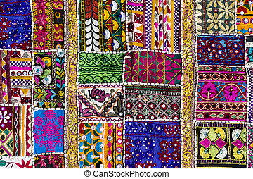 Patchwork carpet in India - Detail patchwork carpet. Close...