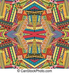 patchwork, conception, coloré, ethnique
