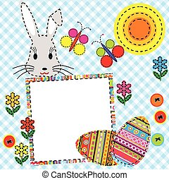 Patchwork Easter card with eggs and rabbit
